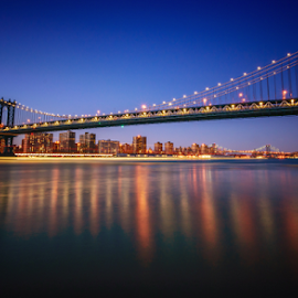 Manhattan bridge by Richard Depinay - City,  Street & Park  Skylines ( new, sunset, york, manhattan, bridge, dusk, hudson, river )