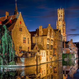 by Yury Loginov - Buildings & Architecture Public & Historical ( reflection, night photography, bruges )