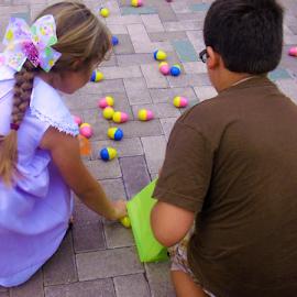 Siblings Help at Easter Egg Hunt by Cheryl Beaudoin - Babies & Children Children Candids ( love, help, eggs, easter, hunt, celebration, egg, siblings,  )