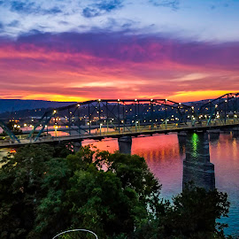 Walking Bridge in Chattanooga Tennessee  by Dan Miller - Novices Only Landscapes ( water, reflection, strong forground, tree, sunsets, sunset, bridge )
