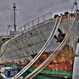 Galeb, the ship by dictator Tito by Ferdo Fulgosi - Transportation Boats ( port, ship, crane, rusty, anchor, abandoned )