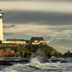 Rustic Sentinel by Eric Yiskis - Buildings & Architecture Public & Historical ( waves, california, lighthouse, ocean, landscape, rocks )