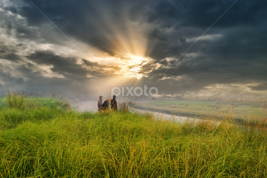 nature by Samir Ray - People Street & Candids ( wetland, man in nature, clouds. sun light )