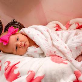 Newborn Kove  by Shanna L Christensen - Babies & Children Babies ( clocks, pink, baby, newborn, girl, portrait )