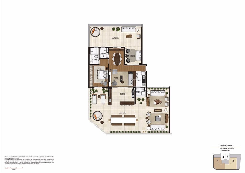 Planta 209 m² Garden OPÇÃO Final 1 (Torre Galeria)