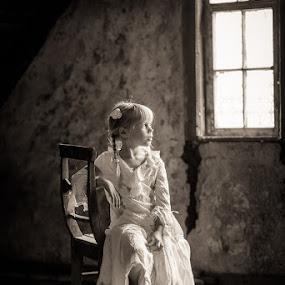 Fine by Holger MC - Babies & Children Child Portraits ( vintage, beautiful, white dress, cute, child, chair, holgermc, sitting, girl, naturlichtkinder, pensive, braids, flower )