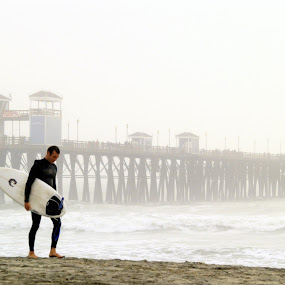 Surfer at Oceanside CA Pier by David Shayani - People Portraits of Men ( olympus e300, structure, southern california, california, waves, ocean, oceanside ca, usa, united states of america, san diego, surfing, picasa photo editor, pier )