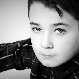 Handsome chappy by Vix Paine - Babies & Children Child Portraits ( child, blackandwhite, teenager, son, brother, boy, portrait, eyes )