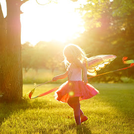 Fairy Princess  by Audriana Duvall - Babies & Children Children Candids ( nature, sunset, wings, fairy, children, fun )
