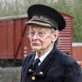 The Station Master by Heather Ryder - People Portraits of Men ( railway, station, steam train, station master, trains,  )