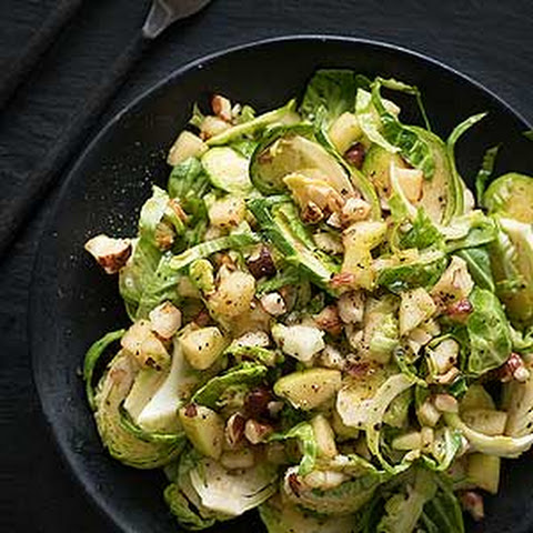Raw Brussels Sprouts with Apple, Hazelnut and Maple Salad