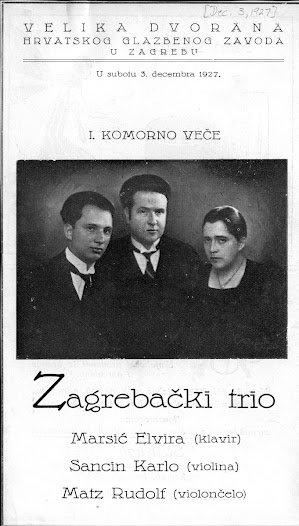 Matz performed with several different chamber music groups in Zagreb.  This concert program for the Zagrebački Trio is dated December 3, 1927.