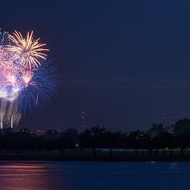 Fireworks over DC by Brianne Toma - Public Holidays July 4th ( district of columbia, usa, jbab, fireworks, holiday, america, potomac, washington dc, 1776, land of the free, river, fourth of july, national monument, landscape,  )