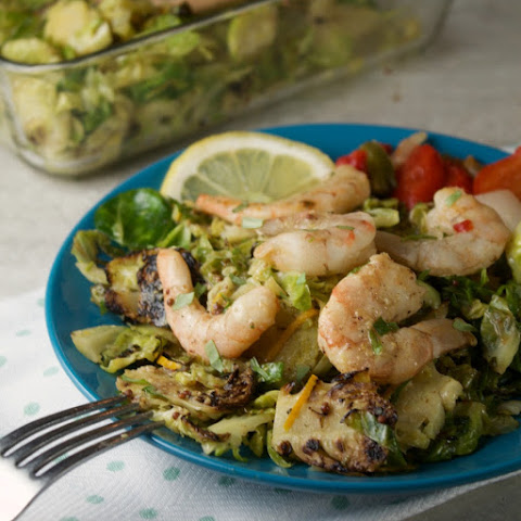Citrus Tarragon Brussels Sprouts Slaw with Grilled Shrimp