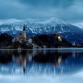 The Bewitching Bled by Shirshendu Sengupta - Landscapes Mountains & Hills ( winter, sunset, slovenia, christmas, bled, julian, lake, sunrise, travel, alps )