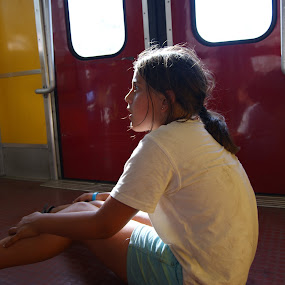 by Maya Farebrother - Babies & Children Child Portraits ( sitting, girl, floor, train, sun )