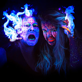 Witches Inferno by Michael Payne - Digital Art People ( flames, blue, uvpaint, blacklight, black light, fire )
