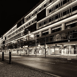 Berlin in B&W - series by Ovidiu Bujor - City,  Street & Park  Night ( lights, b&w, street, buildings, empty, night, architecture, light, city )