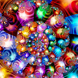 Sparkle Spiral by Peggi Wolfe - Illustration Abstract & Patterns ( abstract, wolfepaw, gift, unique, bright, illustration, fun, digital, print, décor, ultrafractal, pattern, color, unusual, fractal )