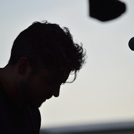 Shadow of man by Thomas Shaw - People Portraits of Men ( band, sky, microphone, shadow, white, oak city 7, stage, hair, black, man, oc7 )