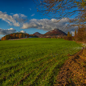Field below Bezdez castle by Peter Podolinsky - Landscapes Prairies, Meadows & Fields ( field, bezdez, autumn, castle )