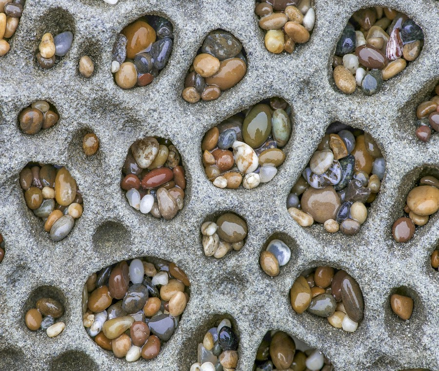 Pebble Pockets #7 by Jim Downey - Nature Up Close Rock & Stone ( colors, tumbled, pebbles, sandstone pockets, shapes )