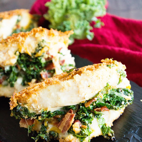 Cheesy Bacon Kale Stuffed Chicken