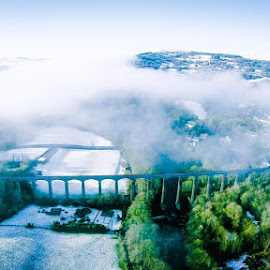 The cloud coming up the valley was awesome! by Jon Morgan - Buildings & Architecture Bridges & Suspended Structures