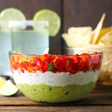 Triple Layer Guacamole Creamy Cotija and Confetti Salsa Party Dip