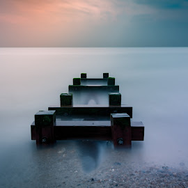 Adherence by Simon Talbot-Hurn - Artistic Objects Other Objects ( water, waterscape, colors, minimalism, outflow, minimal, beach, landscape, minimalist, pipe, colours, suffolk, long exposure, piles, nikon )