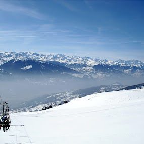 Lift to the top - Crans Montana - Mountain Panorama by Emilie Robert - Public Holidays Other ( ski, snowboard, skiing, mountain, sports, travel, panorama, winter, lift, switzerland, crans montana, snowboarding, top )