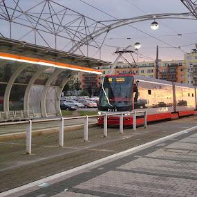 Tram at Sunset by Yury Tomashevich - Transportation Trains ( reflection, railway, sunset, tram, city,  )