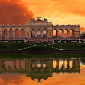 Schönbrunn by Milan Milosevic ヅ - Buildings & Architecture Other Exteriors ( reflection, schönbrunn, sunset, beauty, architecture, landmark, travel )