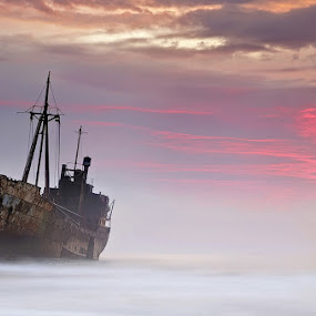 The Dark Traveler by Mary Kay - Landscapes Waterscapes ( dimitrios, shipwreck, greece, maria kaimaki, peloponnese, justeline, sunrise )