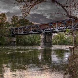 Train by Stratos Lales - Buildings & Architecture Bridges & Suspended Structures ( water, paranesti, train, bridge, river )