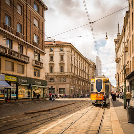 Streetcar by Kevin Warrilow - City,  Street & Park  Street Scenes ( trams, milan, cablecar, streets, italy )
