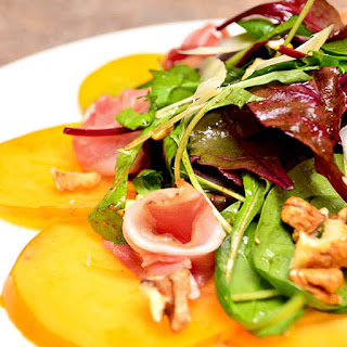 Green Salad With Persimmon, Prosciutto And Walnuts