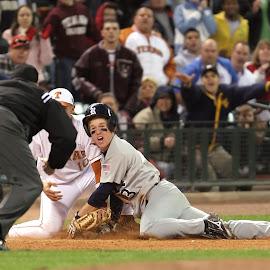 Close call at third by Keith Johnston - Sports & Fitness Baseball ( expression, athletes, umpire, facial, third base, baseball, players, play, glove, game, close call, athletic, competition )