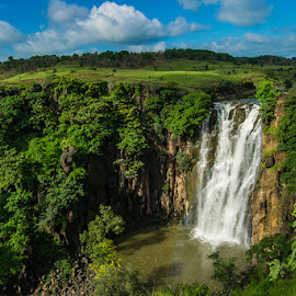 Beautiful Waterfall by Shariq Khan - Landscapes Waterscapes ( blue sky, forest, green, waterfall, river, clouds, india, forests, landscape,  )