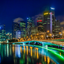 Sing City by Indrawaty Arifin - City,  Street & Park  Night ( lights, night, maybank, marina bay, singapore )