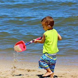 A boy and his shovel. by Peter DiMarco - Babies & Children Children Candids ( child, sand, candid, summer fun, beach,  )