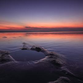 Hole on the beach by Franciscus Satriya Wicaksana - Landscapes Sunsets & Sunrises ( clouds, water, sand, skyline, sky, color, sunset, beach, landscape )