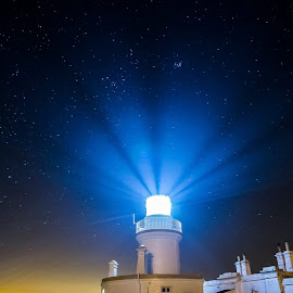 Lighthouse and stars by Gordon Bain - Buildings & Architecture Other Exteriors ( building, stars, lighthouse, night, beam )