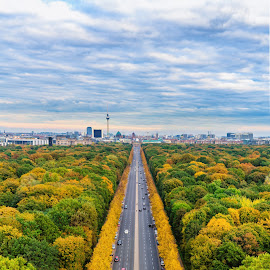 View from Siegessäule in Berlin by Marc Sharp - City,  Street & Park  Vistas ( autumn, colorful, cityscape, berlin, city )