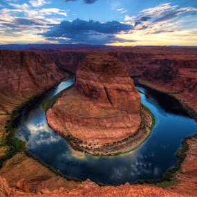 Horseshoe Bend by Francesco Riccardo Iacomino - Landscapes Caves & Formations ( curve, famous, horse, bend, sandstone, stone, rock, valley, travel, landscape, usa, horseshoe, nature, page, shadow, arizona, geological, water, terrain, desert, majestic, landform, cliff, colorado, canyon, scenic, sunlight, landmark, wilderness, red, vista, outdoors, view, horseshoe bend, river )
