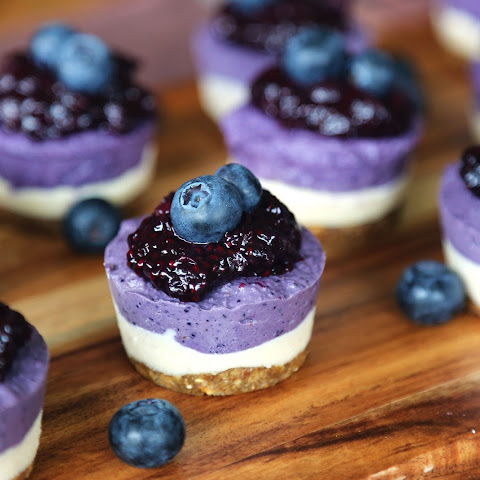 Raw Blueberry Cheesecakes