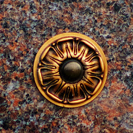 Granite and Gold by Leah Zisserson - Artistic Objects Other Objects ( tombstone, rose, circle, gold, granite )