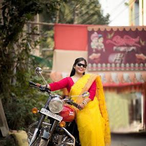 Pre Haldi by Pranab Sarkar - Wedding Bride ( bride, candid, wedding, indian wedding, bike )