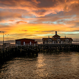 Sunrise with Dunoon's Victorian Pier by Grant Gillon - Buildings & Architecture Public & Historical ( scotland, reflection, dunoon, scottish, pier, victorian, argyll, sunrise, historic, colours )
