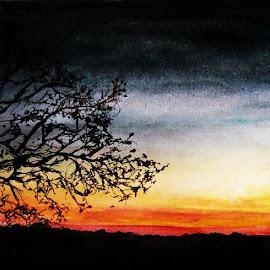 by Samriddhi Dutta - Drawing All Drawing ( art, watercolour, painting, sunset )